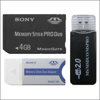 4GB SONY Memory Stick PRO Duo + adapter + USB2 Reader