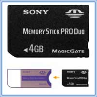 4GB SONY Memory Stick PRO Duo + adapter